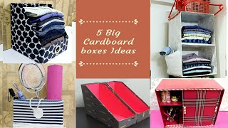 5 BIG CARDBOARD BOX IDEAS THAT ARE EASY AND USEFUL/ 5 CARDBOARD BOX CRAFT IDEAS /BEST OUT OF WASTE