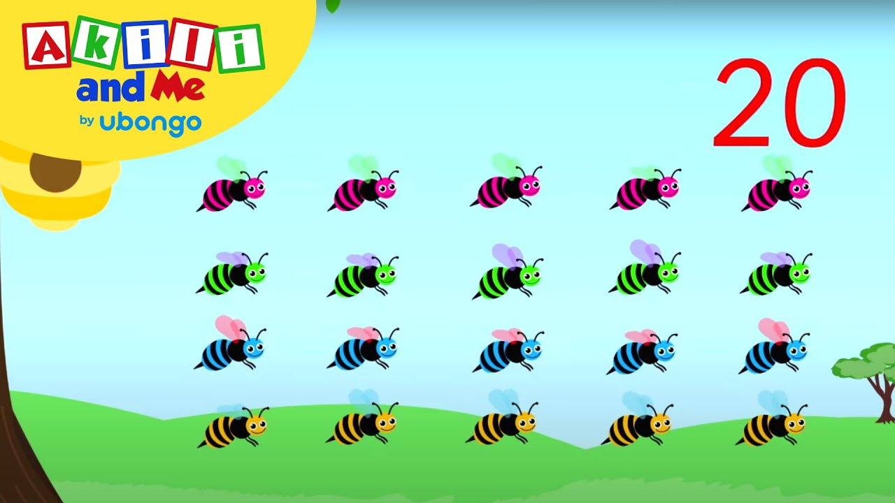 Counting Bees from 1 to 20!   Count With Akili   African Educational Cartoons