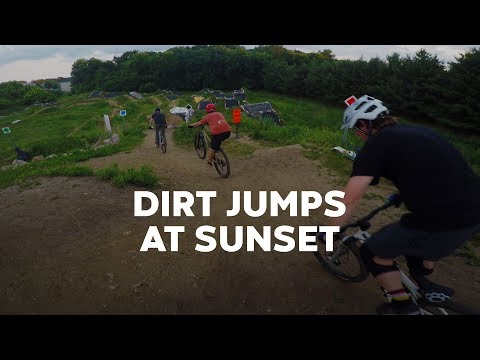 Dirt jumps at sunset — Cottage Grove Bike Park