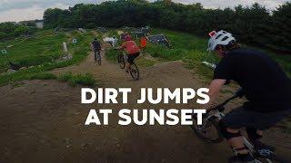 Dirt jumps at sunset — Cottage Grove Bike Park