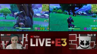 Ninja and Marshmello Play Fortnite at the YouTube Live at E3 Studio Part 2