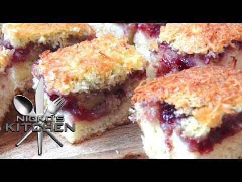 Raspberry & Coconut Slice - Video Recipe