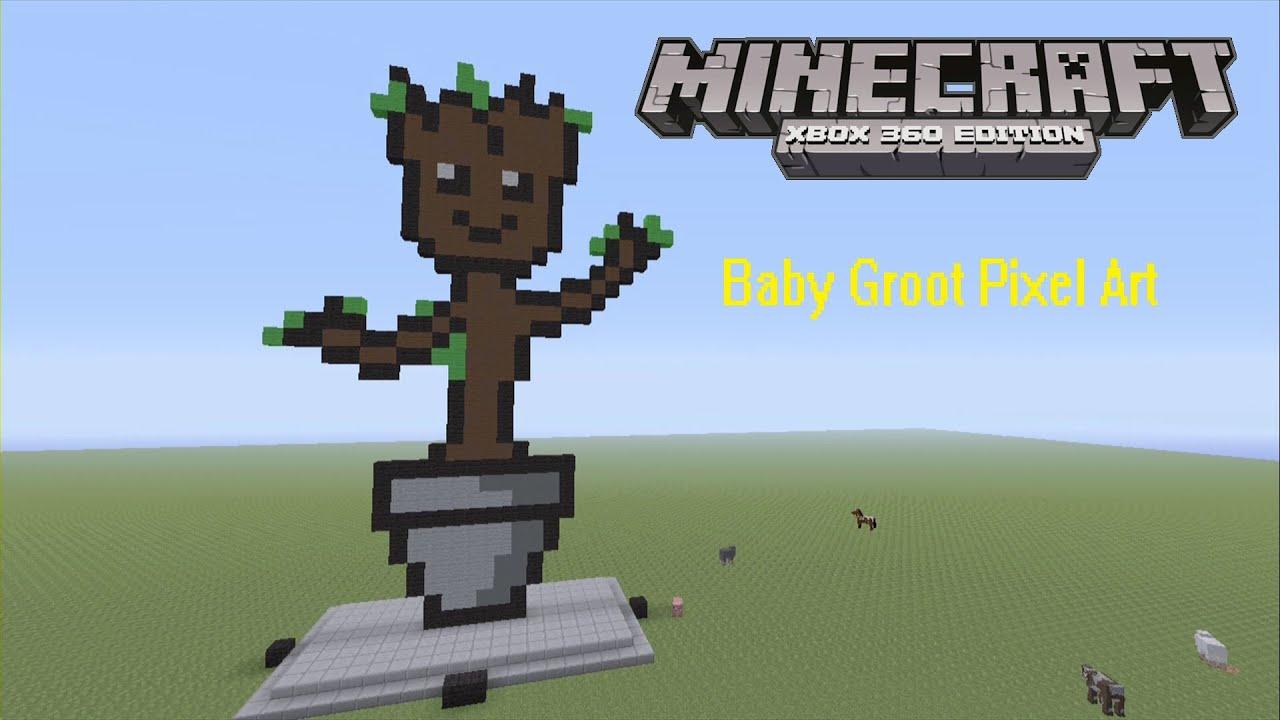 Minecraft 360 Edition Pixel Art Baby Groot YouTube