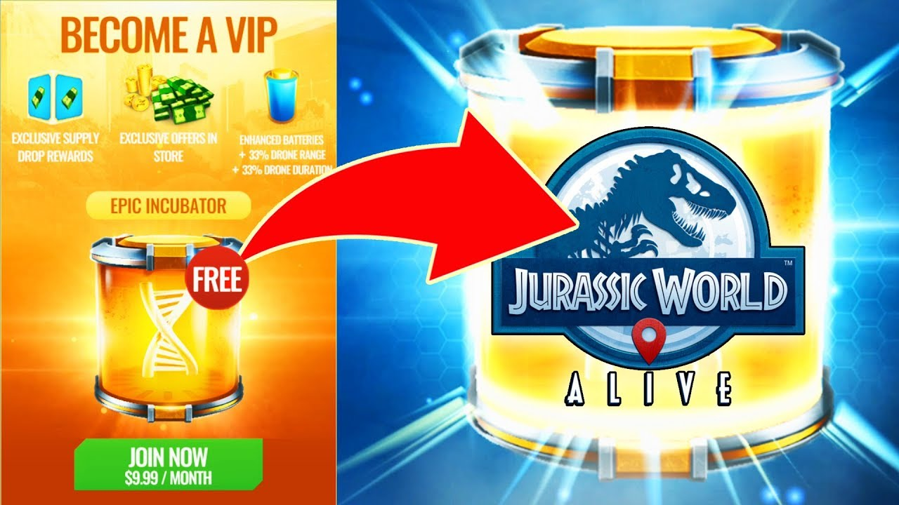 BUYING VIP IN JURASSIC WORLD ALIVE! Worth It or Not to Buy VIP? Epic  Incubator + Enhanced Batteries