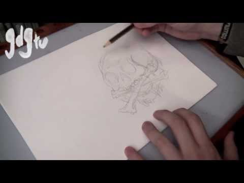 How To Draw Skulls and Snakes - Traditional & Old School Style Tattoo Flash Tutorial