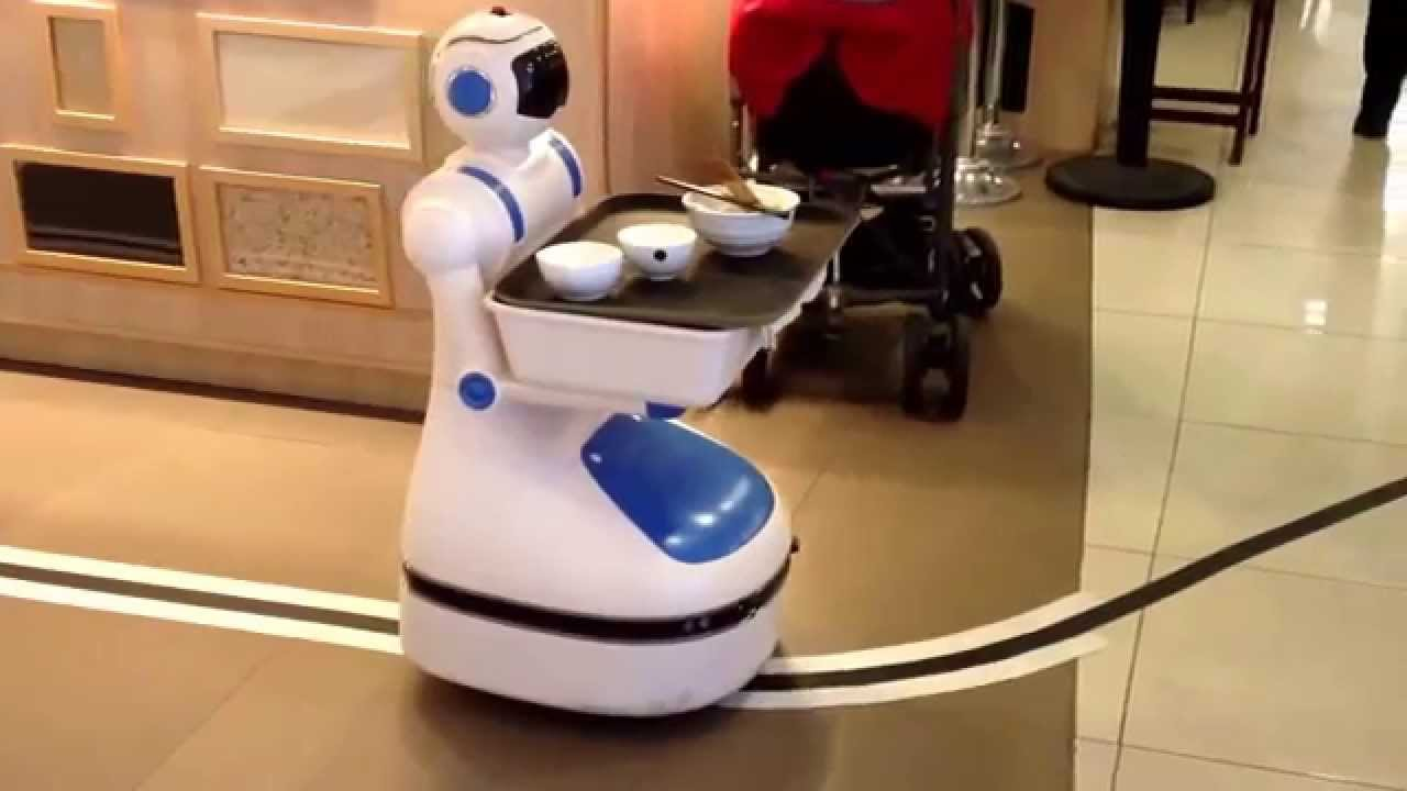 robot helper in the restaurant youtube. Black Bedroom Furniture Sets. Home Design Ideas