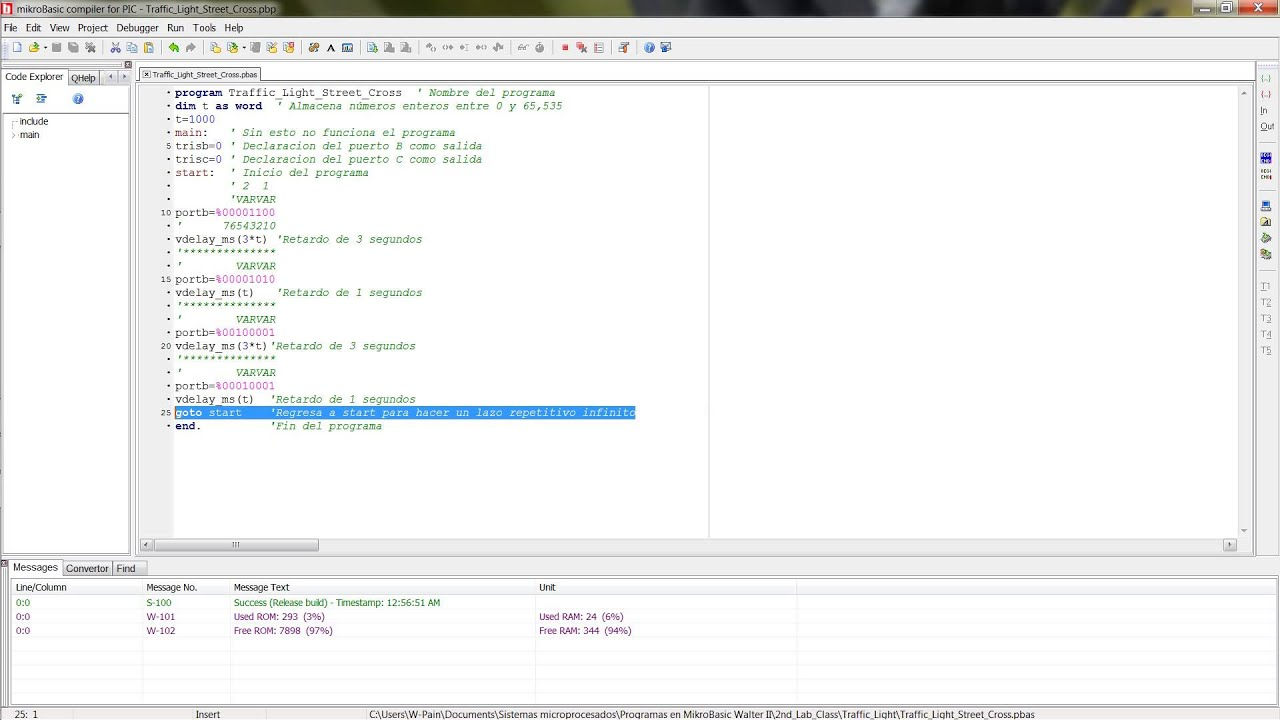 Download 4 Semaforos con PIC16F877A MikroBasic y Proteus