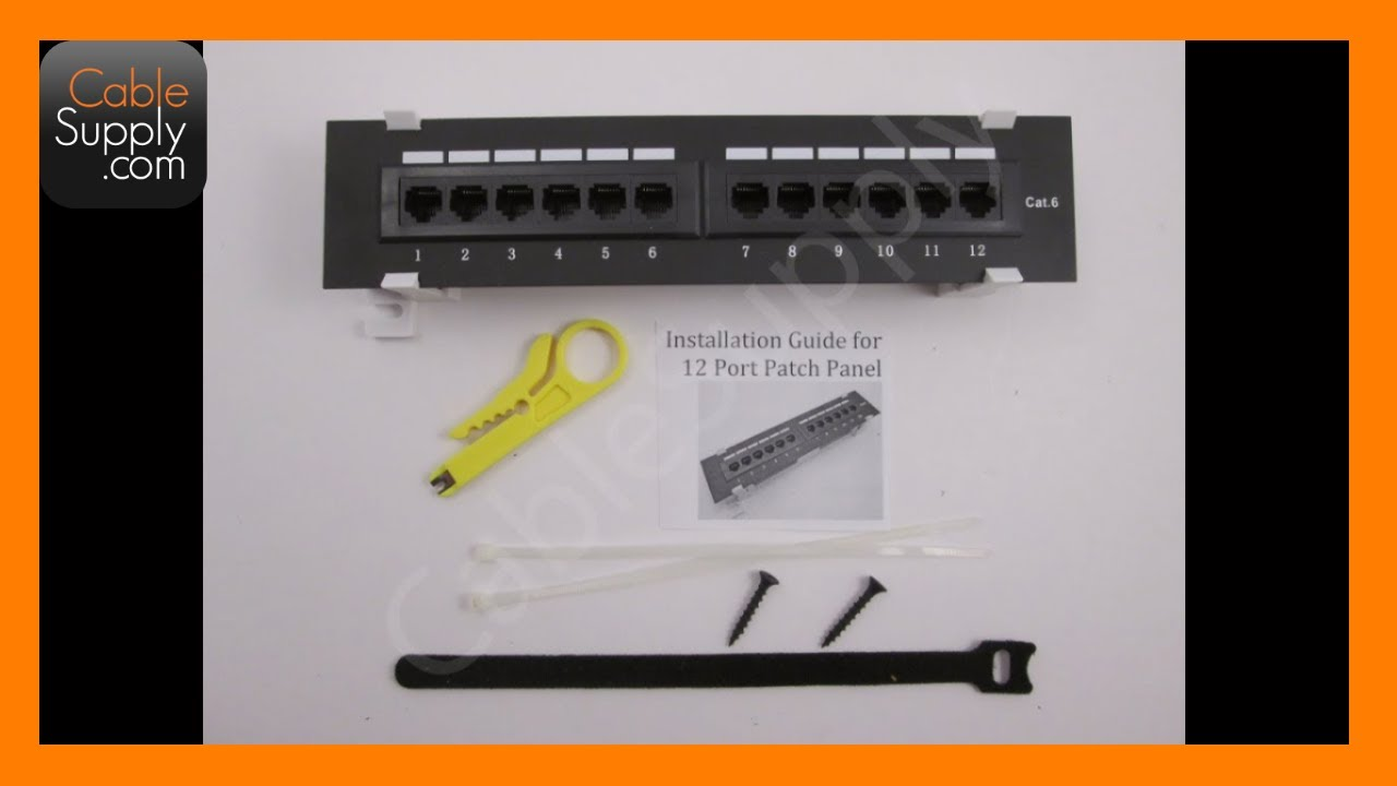 How to install a 12 Port Cat5e/Cat6 wall-mount Patch Panel ...