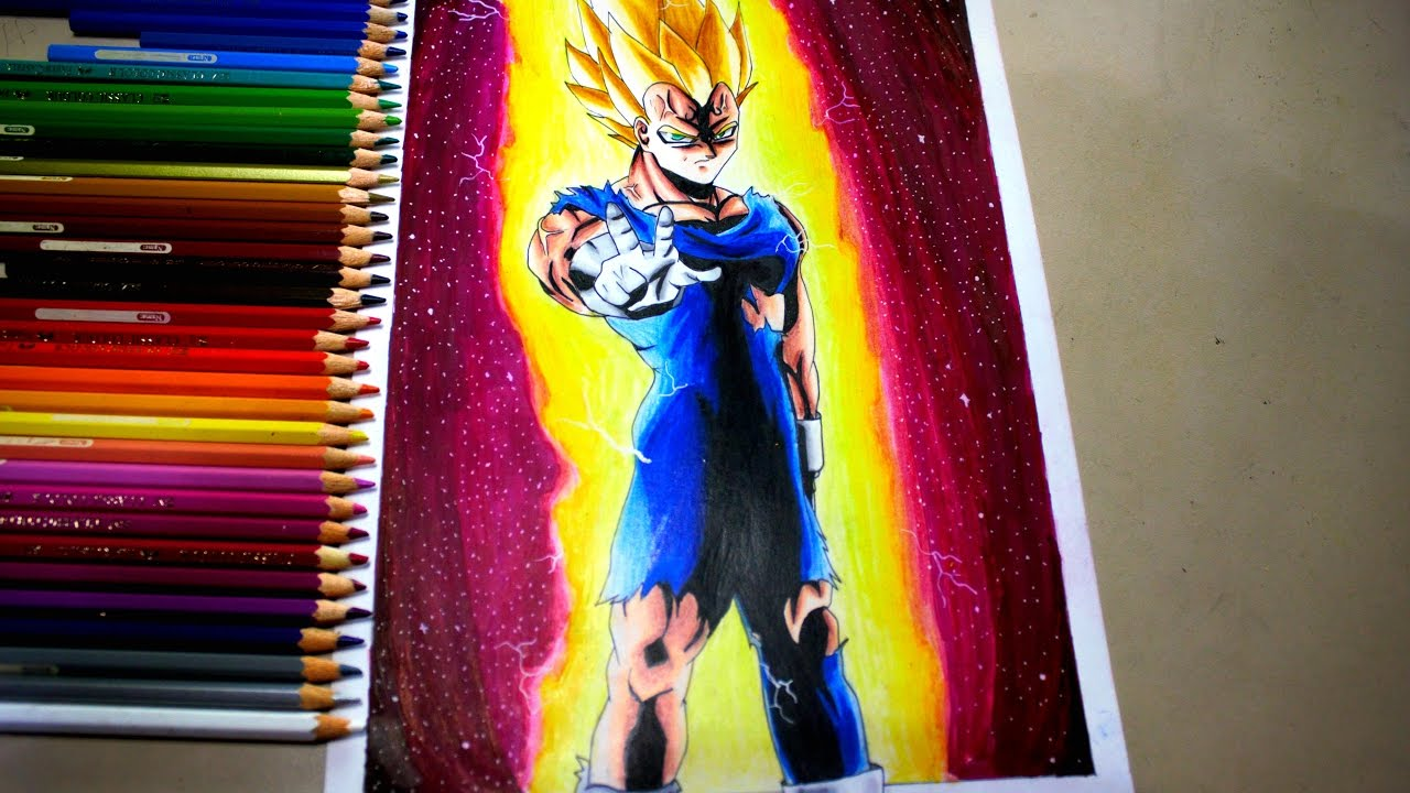 Speed Drawing Majin Vegeta Dragon Ball Z Youtube