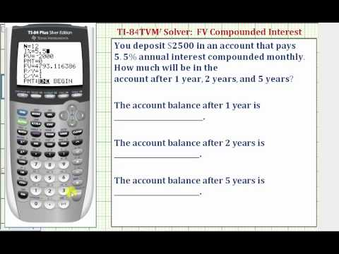 Ex: TI84 TVM Solver - Future Value with Compounded Interest