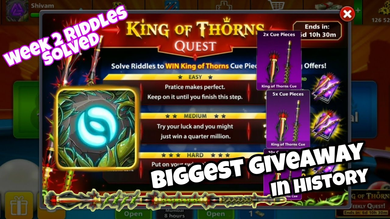 KING OF THORNS QUEST    WEEK 2 RIDDLES SOLVED    8 BALL POOL !!! 🎱😎🎱 -