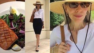 Vlog/Over 50: White Shirt, Black Pencil Skirt, Wide Brim Hat; Lunch Nordstrom Cafe / Classic Fashion