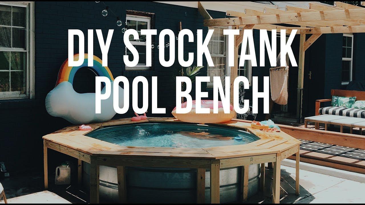 DIY: Stock Tank Pool Bench - YouTube