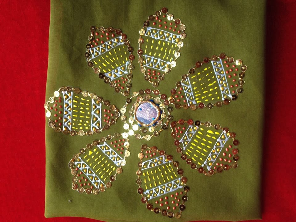 Liquid Embroidery Making Flower Design Using Sequins 3 D Glitter