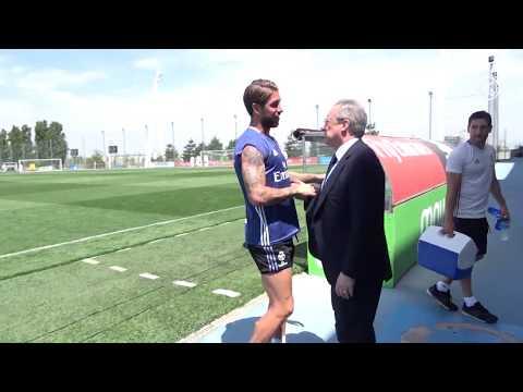 Florentino Pérez saludó a la plantilla en la Ciudad Real Madrid