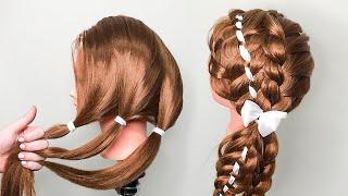 Прически для девочек на длинные волосы. Прически на 1 сентября. Сoiffures simples.
