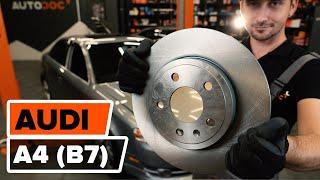 Как се сменят Комплект спирачни дискове на AUDI A4 (8EC, B7) - онлайн безплатно видео