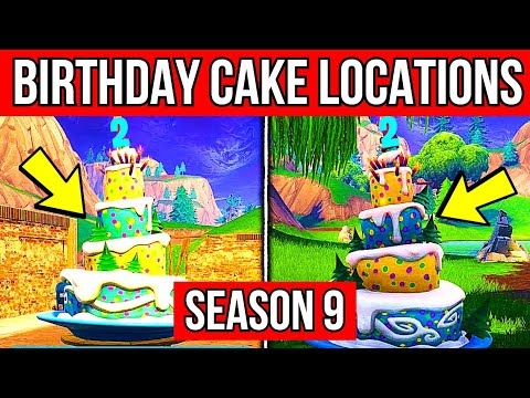 Dance In Front Of Different Birthday Cakes Fortnite Season 9 -  ALL 10 CAKE LOCATIONS FORTNITE