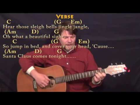 Here Comes Santa Claus (Christmas) Fingerstyle Guitar Cover Lesson in G with Chords/Lyrics