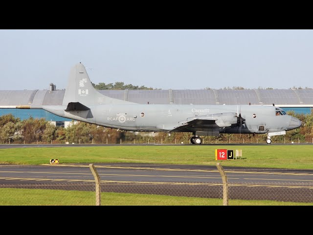 [4K] 2 Royal Canadian Air Force Lockheed CP140 Takeoffs at Prestwick Airport