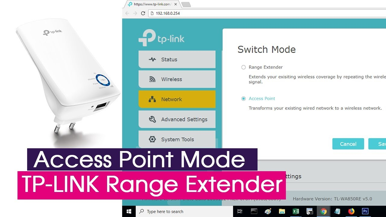 Cofigure ACCESS POINT mode on TP-LINK range extender