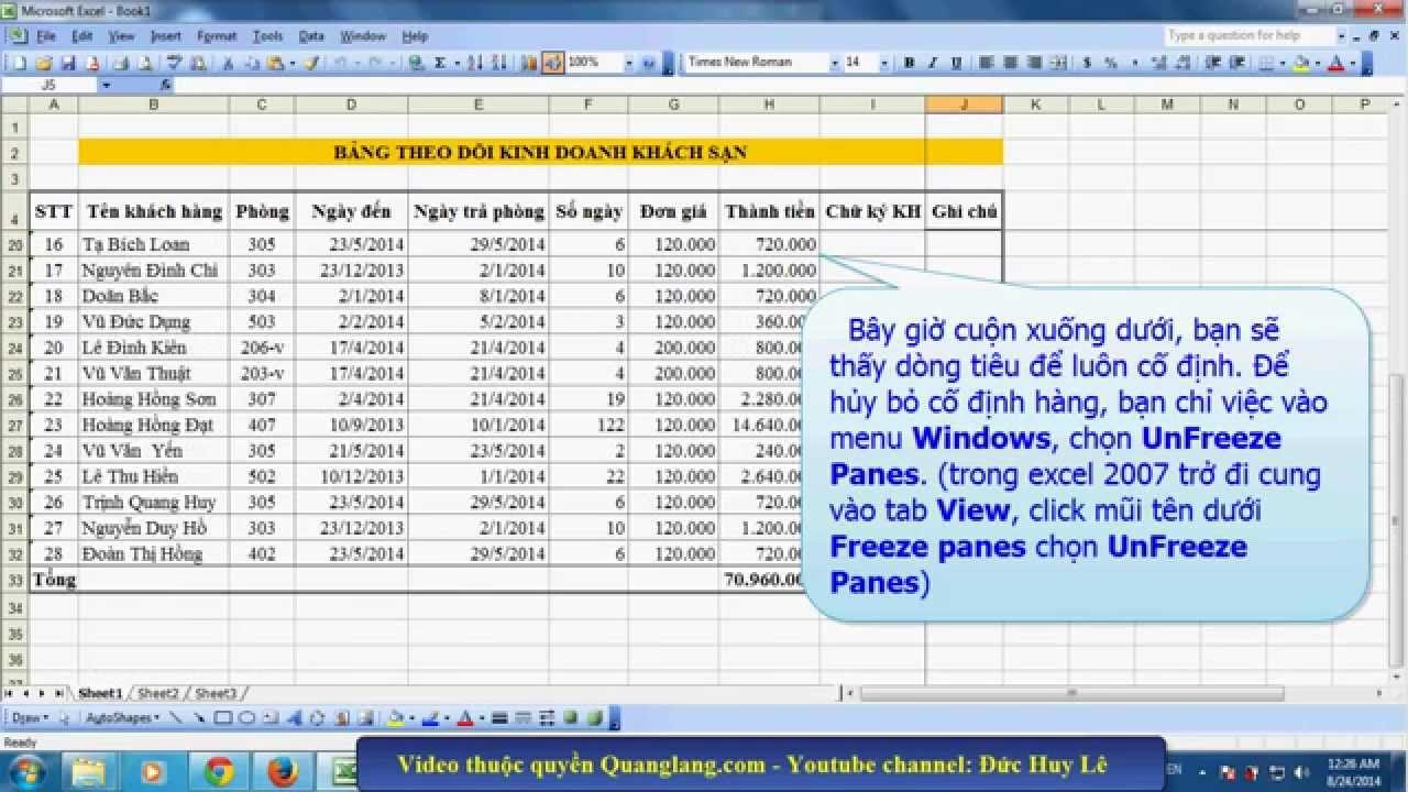 Cố định dòng, cột tiêu đề trong Excel