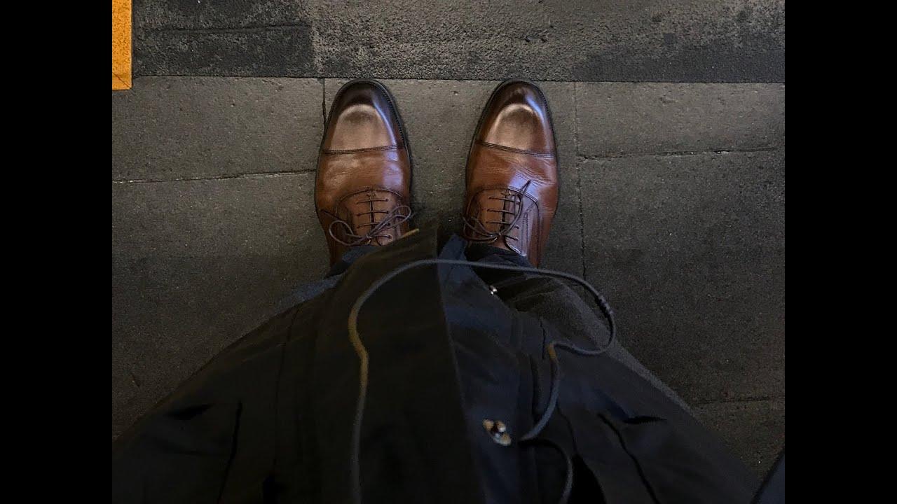 格安ビジネスシューズ【テクシーリュクス】を【コロンブス/ナイトリキッド】で高級革靴化