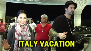(video) hot sunny leone leaves for italy | rome vacation