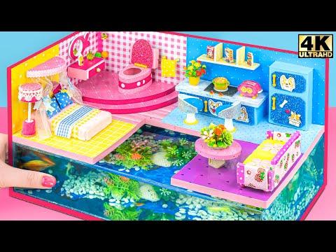 DIY Miniature Cardboard House ❤️ Build Amazing Aquarium Under Miniature House Have Bedroom, Bathroom