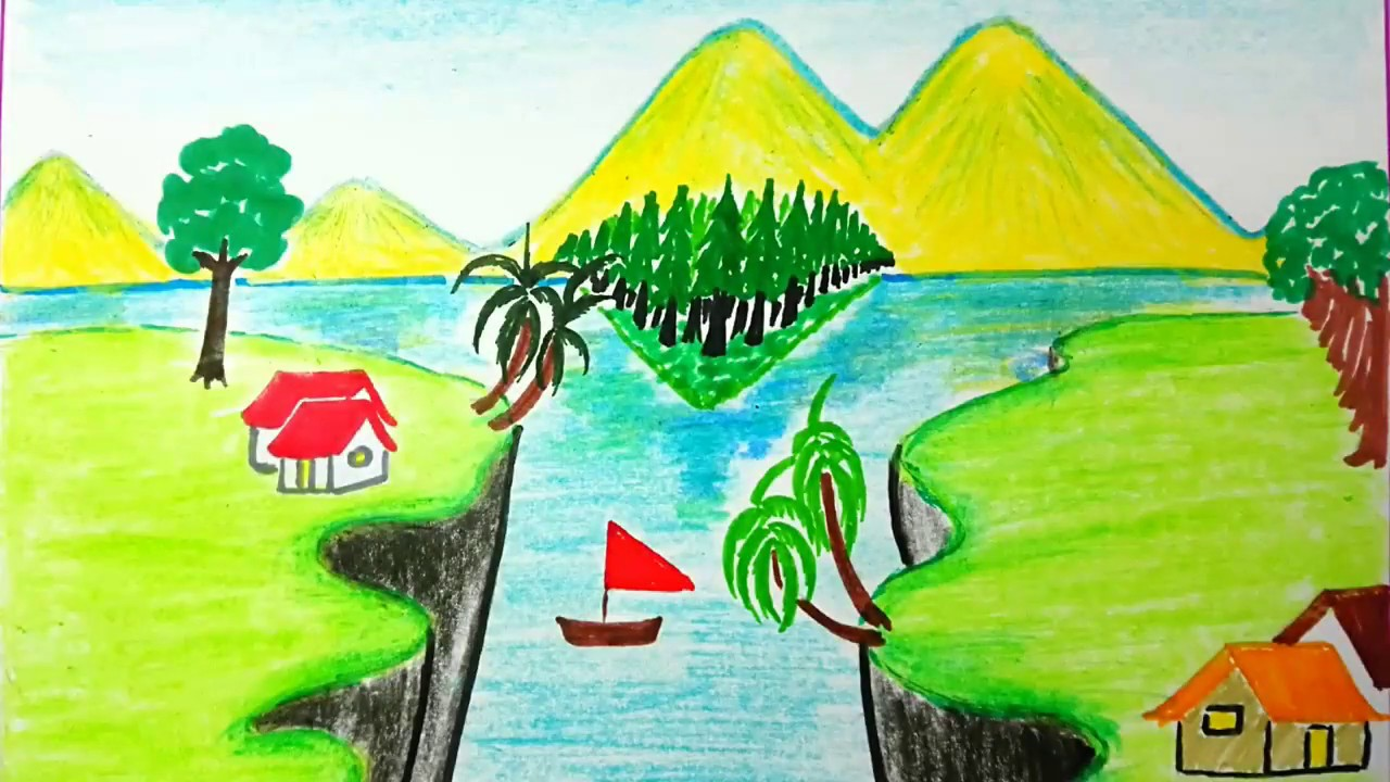 How To Draw Beautiful Canyon And Mountain View Scenery Drawing