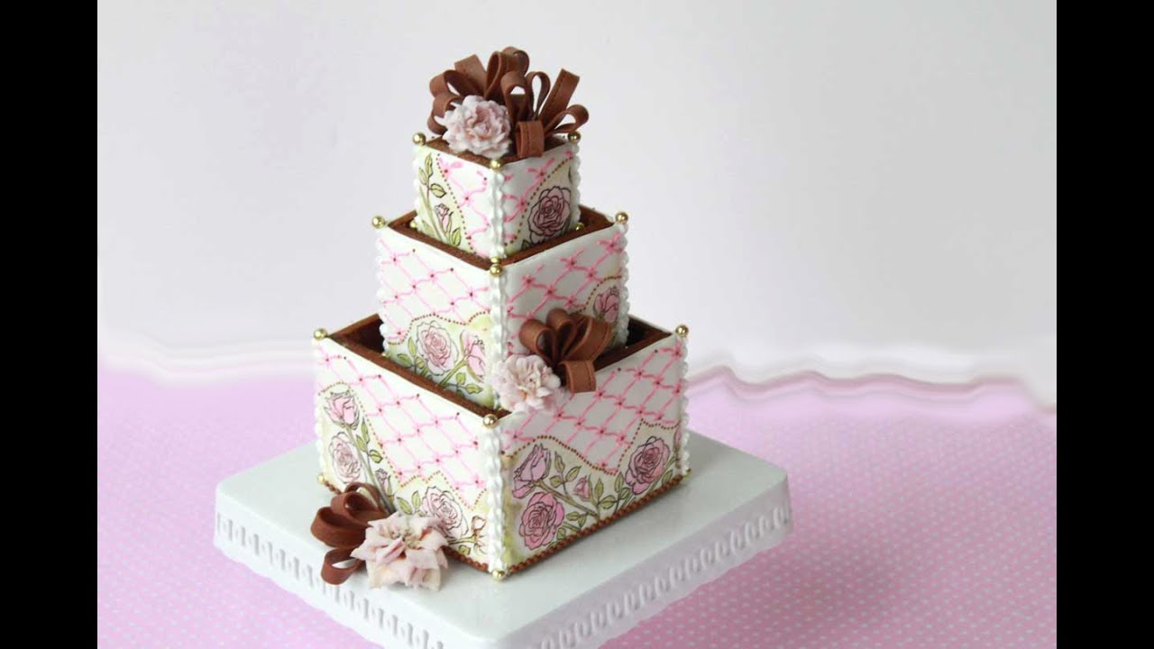 How to Assemble 3-D Cookie Wedding Cake Boxes - YouTube