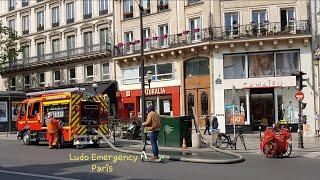Pompiers de Paris FPT avec Remorque Poudre Rousseau et nouveau FPTL CHÂTEAU D'EAU En Urgence
