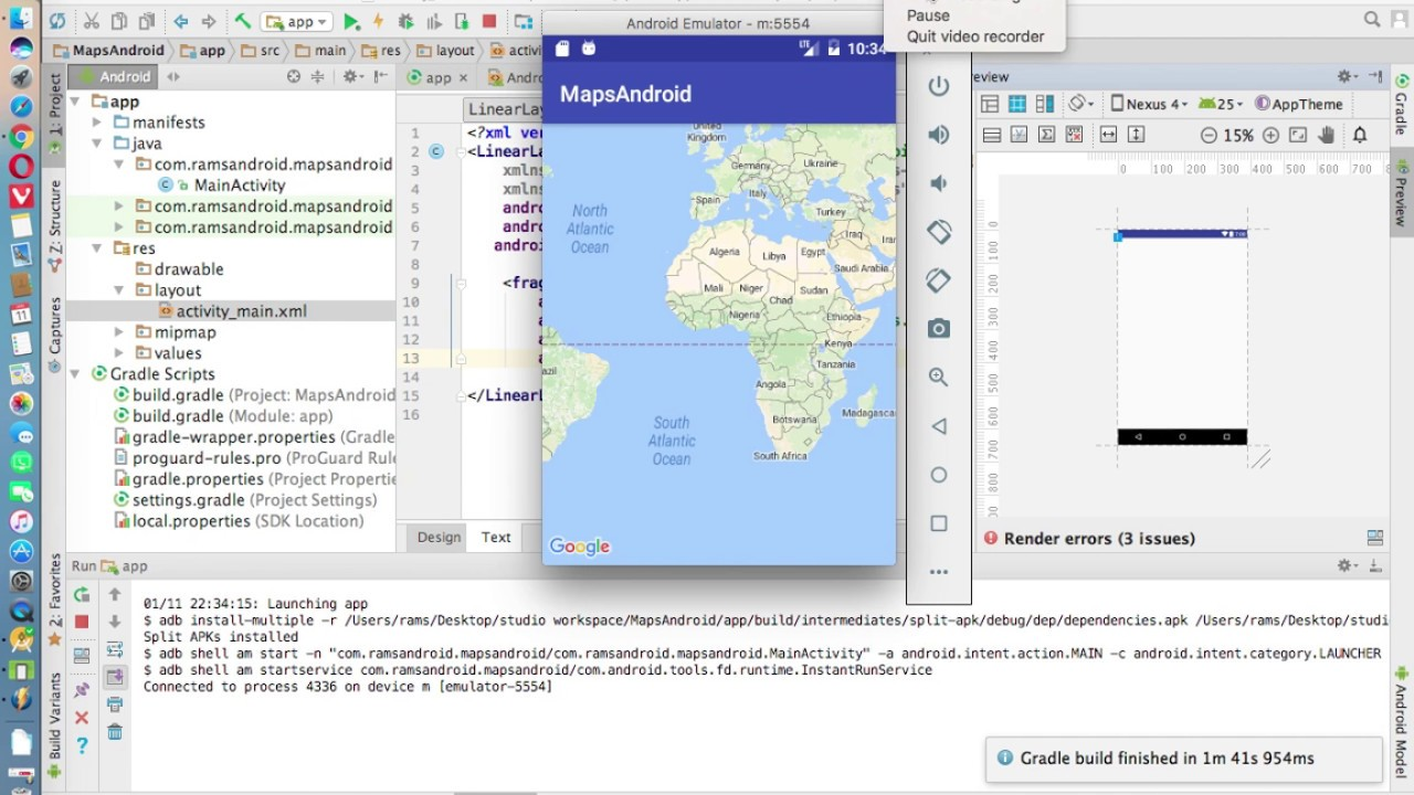 Android Studio Tutorials - 45 : Google Maps Android API V2 in Android
