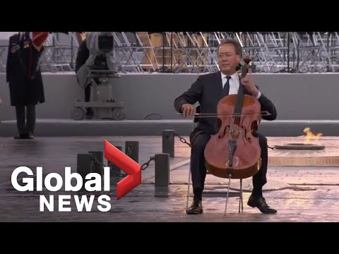 Cellist Yo-Yo Ma performs during Armistice ceremony at Arc de Triomphe