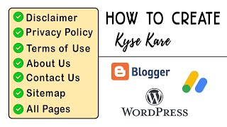 How to Create Privacy policy, Disclaimer, Terms of use, Contact, about Pages Mp3