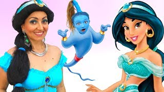 Princess Jasmine Transformation Dress up and Makeup   Super Elsa