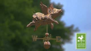 Good Directions 9612p Flying Pig Weathervane - Polished Copper