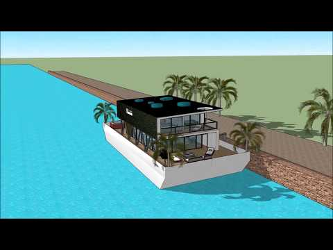 Houseboat living Dubai in UAE UNITED ARAB EMIRATES Super Yacht floating mansion on barge brands comp