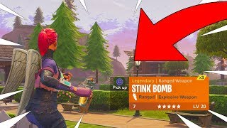 FORTNITE NEW STINK BOMB ITEM GAMEPLAY! NEW STINK BOMB GRENADE INSIDE FORTNITE! COMING SOON!