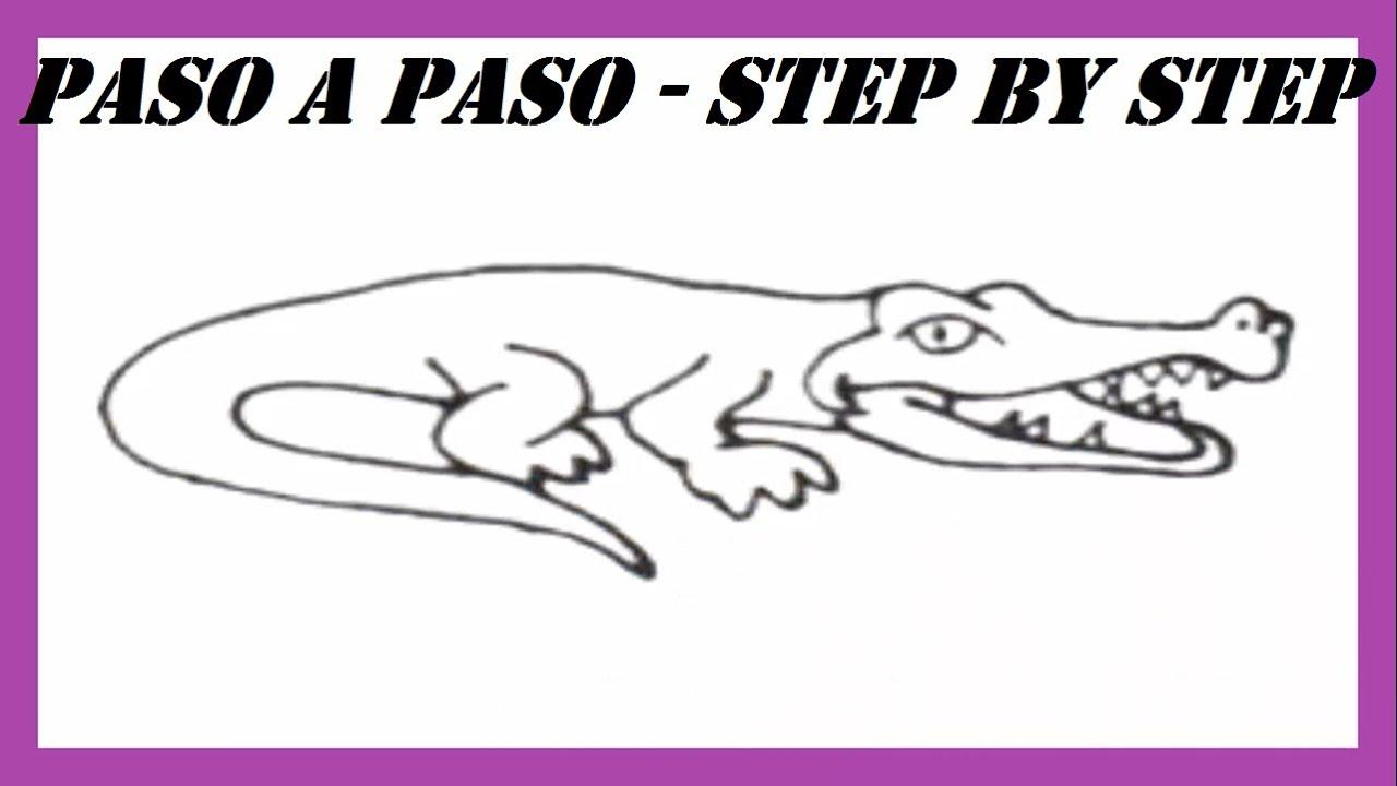 Como dibujar un Cocodrilo paso a paso l How to draw a Crocodile