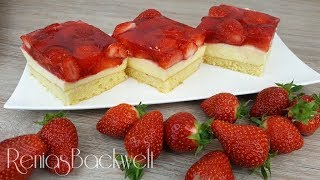 Erdbeerschnitten Blechkuchen Einfach & Lecker