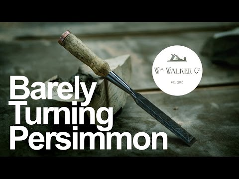 Barely Turning Persimmon - Turning a Chisel Handle