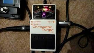 boss tu 2 chromatic tuner demonstration tuning an 8 string guitar