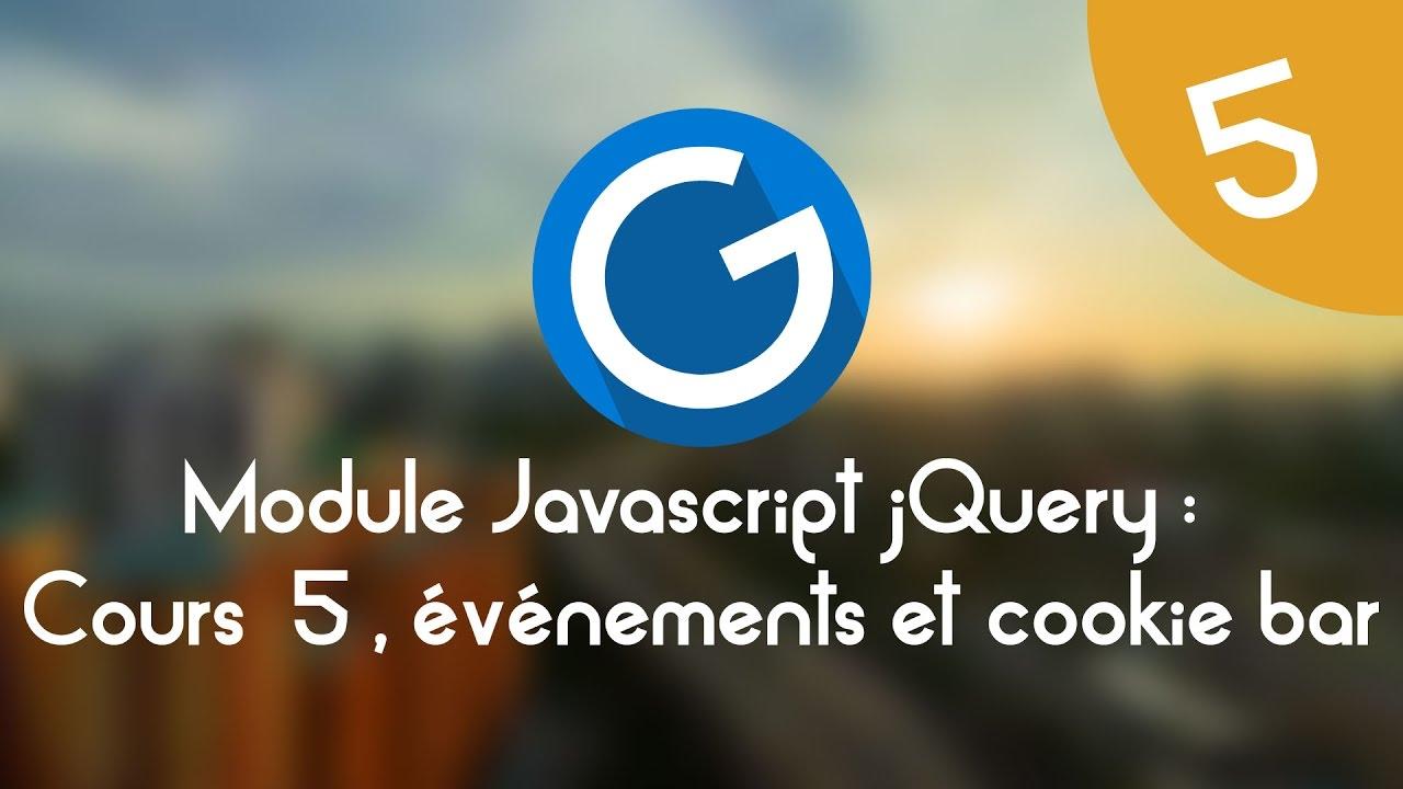 Download Formation IMM - Module Javascript jQuery: Cours tuto 5, événements et cookiebar