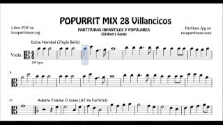 28 Popurrí Mix Villancicos Partituras de Viola Dulce Navidad Adeste Fideles Los Campanilleros