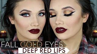 Golden Smokey Eyes + Deep Red Lips Makeup Tutorial