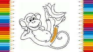 MONKEY Coloring page for KID and Learning How to Draw monkey - Videos for children