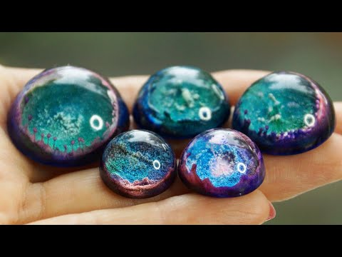 Epoxy resin + Magnetic Sand /  Alcohol ink / 10 CHEAP AND EASY DIY JEWELRY IDEAS