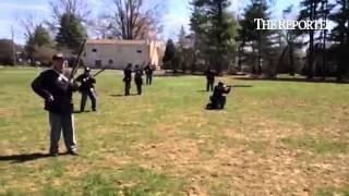 Civil war reenactors with the 71st Pennsylvania volunteer infantry Regiment have an encampment and