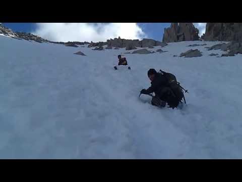Glissading down the Mount Whitney snow chute